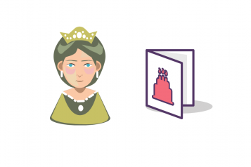 queen and birthday card